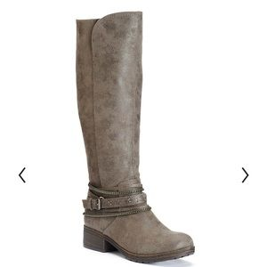 SO Overlay Distressed Riding Boots 7